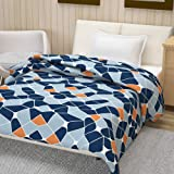 Divine Casa Natty Geometric Polyester Single Blanket - Insignia Blue and Infinity
