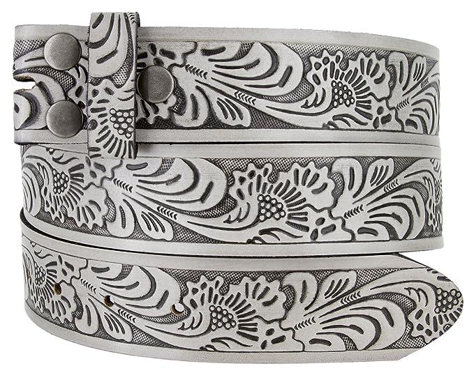 """ce26c4779a724 Western Floral Embossed Vintage Soft Genuine Leather Belt Strap 1.5""""  (Gray/Black,"""
