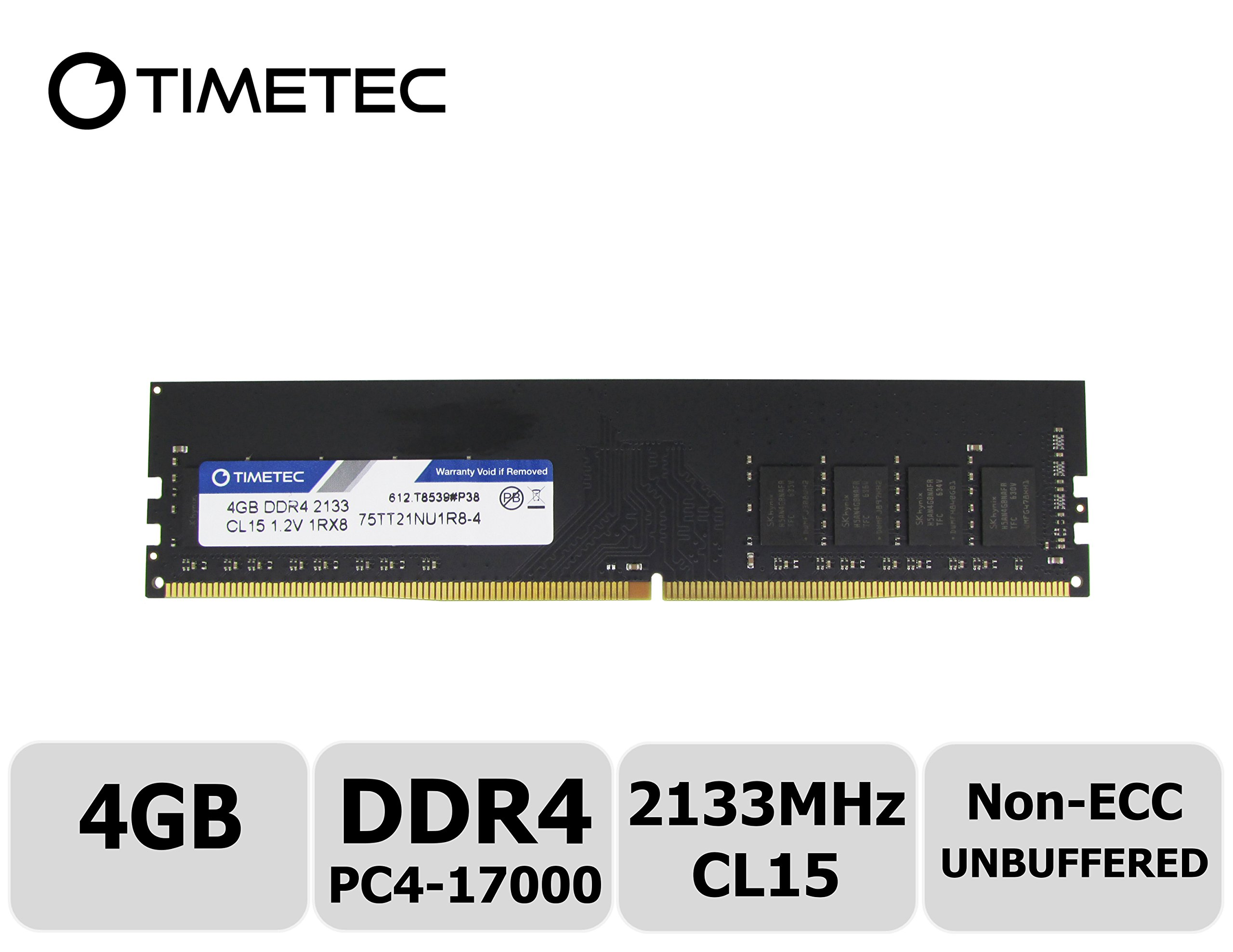 Memoria Ram 4gb Timetec Hynix Ic Ddr4 2133mhz Pc4-17000 Non Ecc Unbuffered 1.2v Cl15 1r8 Single Rank 288 Pin Udimm Pc Co