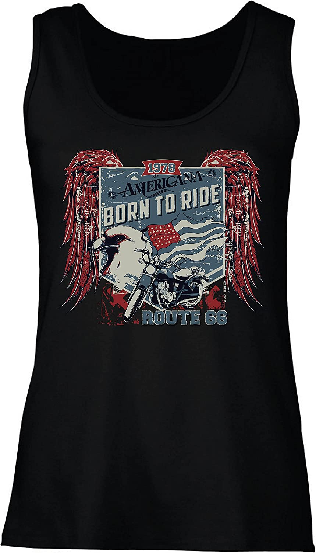 lepni.me Camisetas sin Mangas para Mujer Ruta histórica 66 - águila de la Bandera Americana, Camisa clásica de la Motocicleta: Amazon.es: Ropa y accesorios