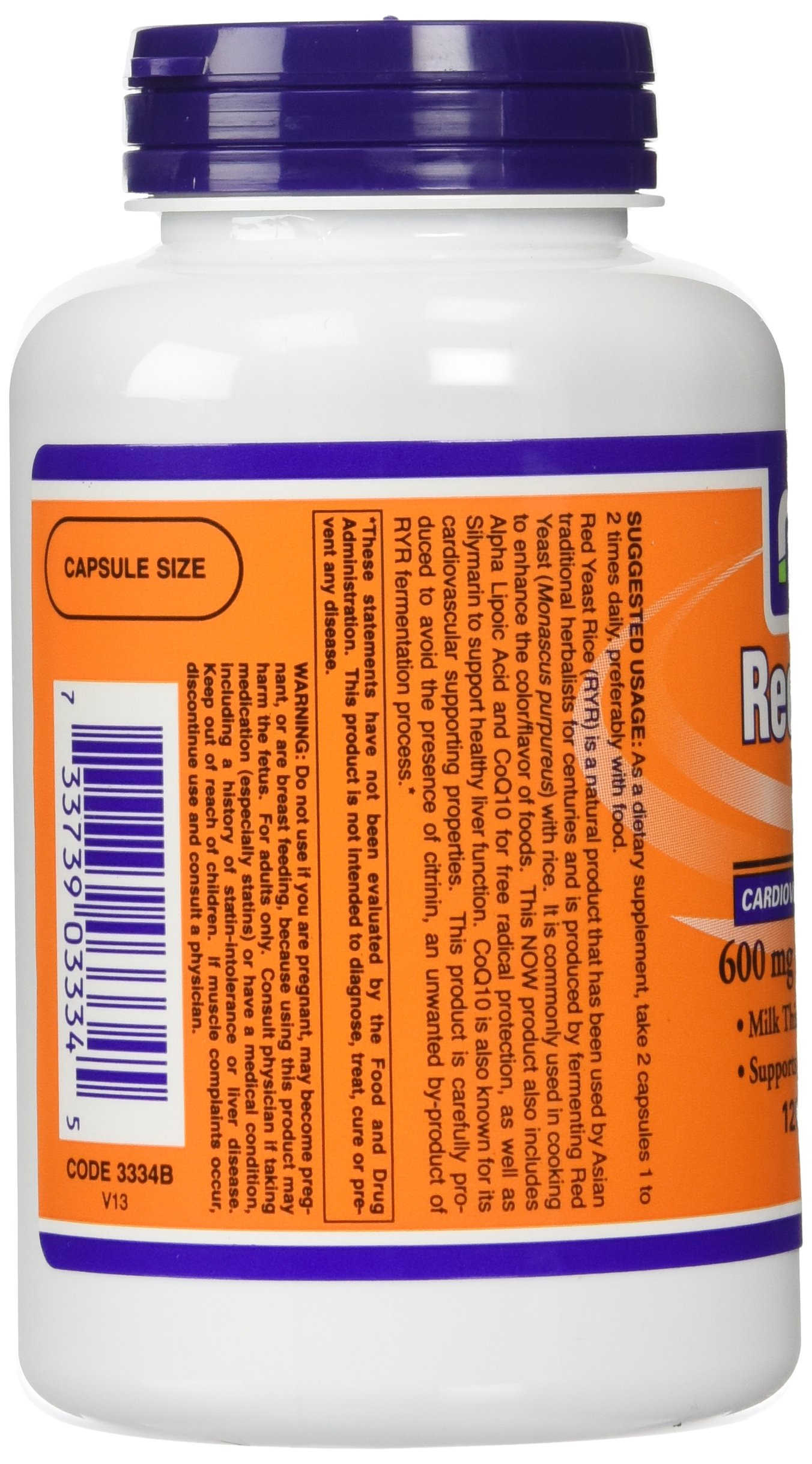NOW Foods 600mg Red Yeast Rice & 30mg Coq10, 120 caps (pack of 2)