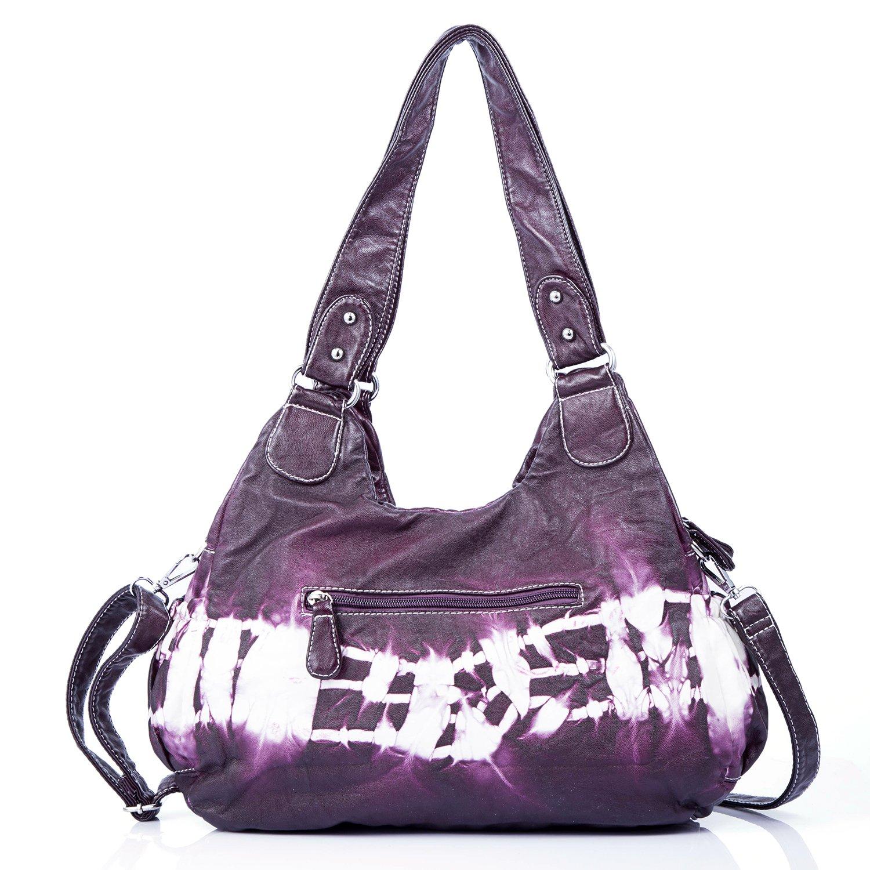 Handbag Hobo Women Handbag Roomy Multiple Pockets Street ladies' Shoulder Bag Fashion PU Tote Satchel Bag for Women (W7127Z Pureple) by Angel Kiss (Image #4)