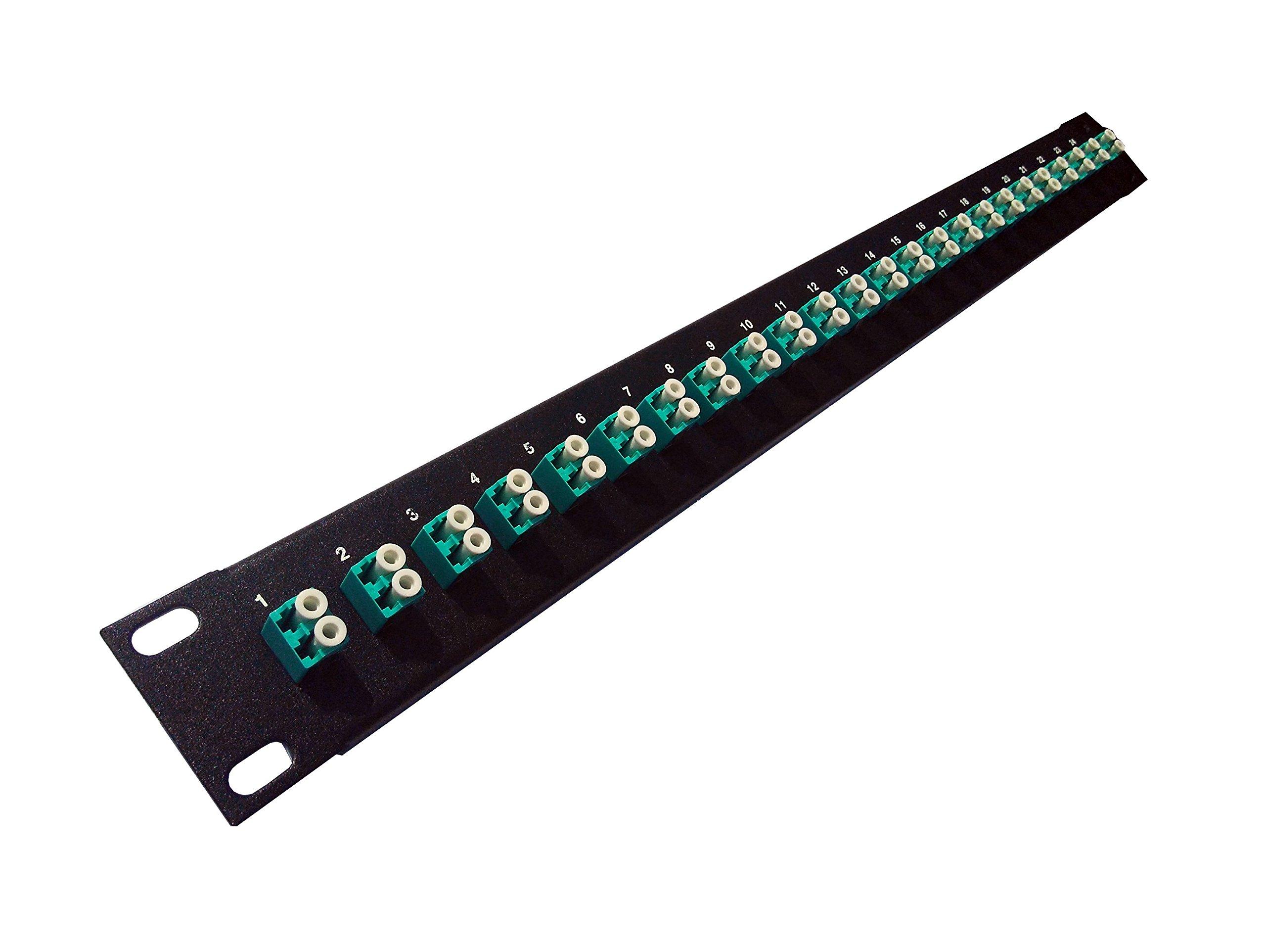 24 Port LC Fiber Patch Panel 10Gb/40Gb Multimode (Aqua Couplers) (loaded 1u) 19''
