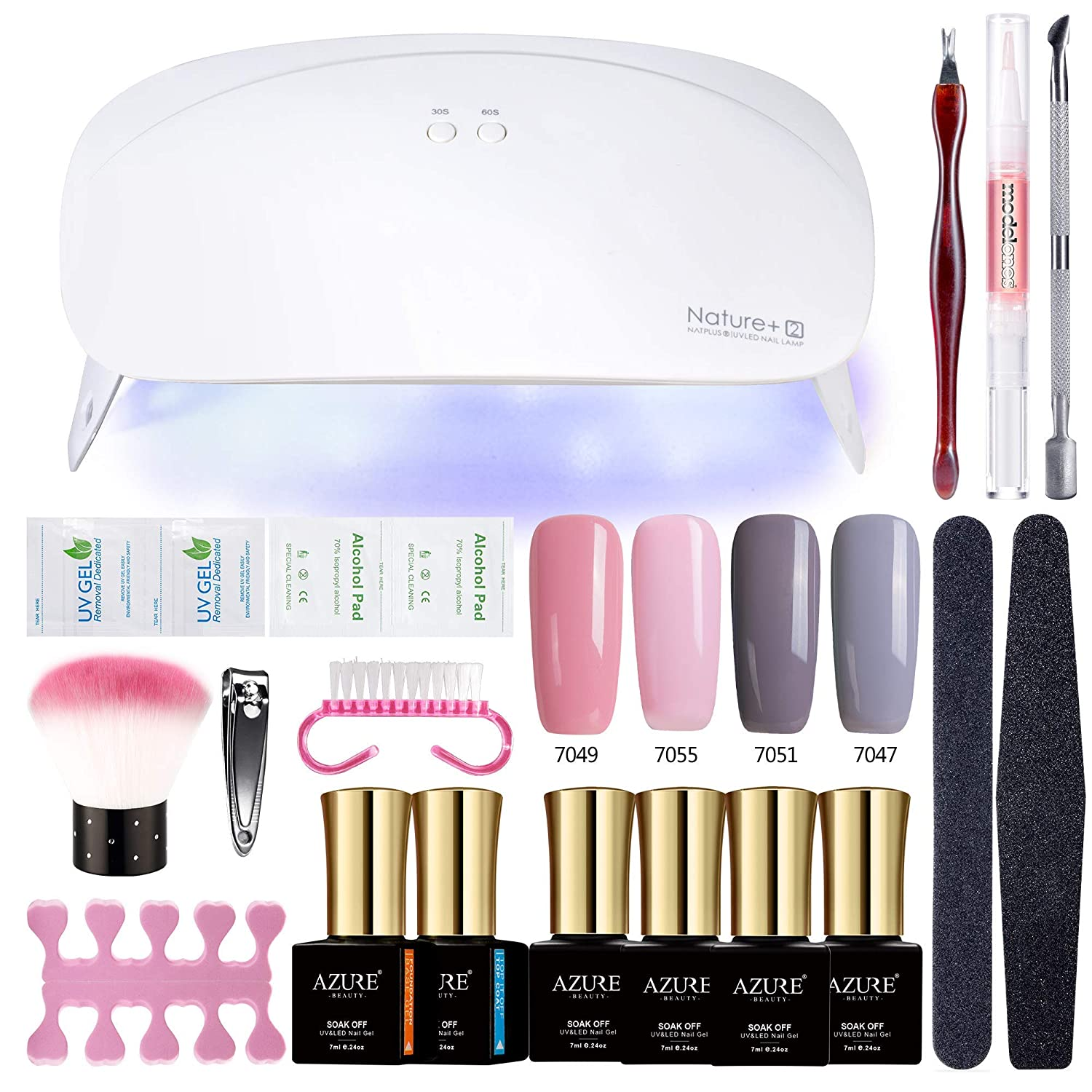 AZUREBEAUTY Gel Nail Polish Starter Kit - 24W UV LED Simultaneously Cures 10 Fingers Nail Dryer Manicure Tools 4 Pink Grey Color Gel polish with Top and Base Coat