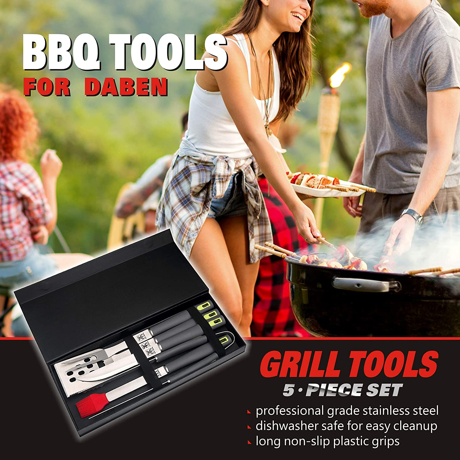 DaBen Stainless Steel BBQ Grill Tools Set 5 Pack
