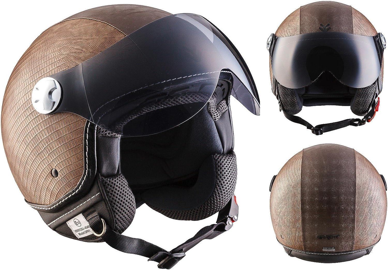 ARMOR Helmets AV-84 Casco Moto Demi Jet, Marrón/Ranger, S (55-56cm)