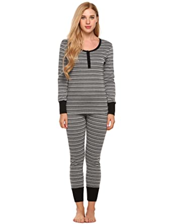 dad29874b5a8 Goldenfox Women Two Piece Thermal Underwear Pajamas Set Long Sleeve Striped  Top Long Pants S-XXL at Amazon Women s Clothing store