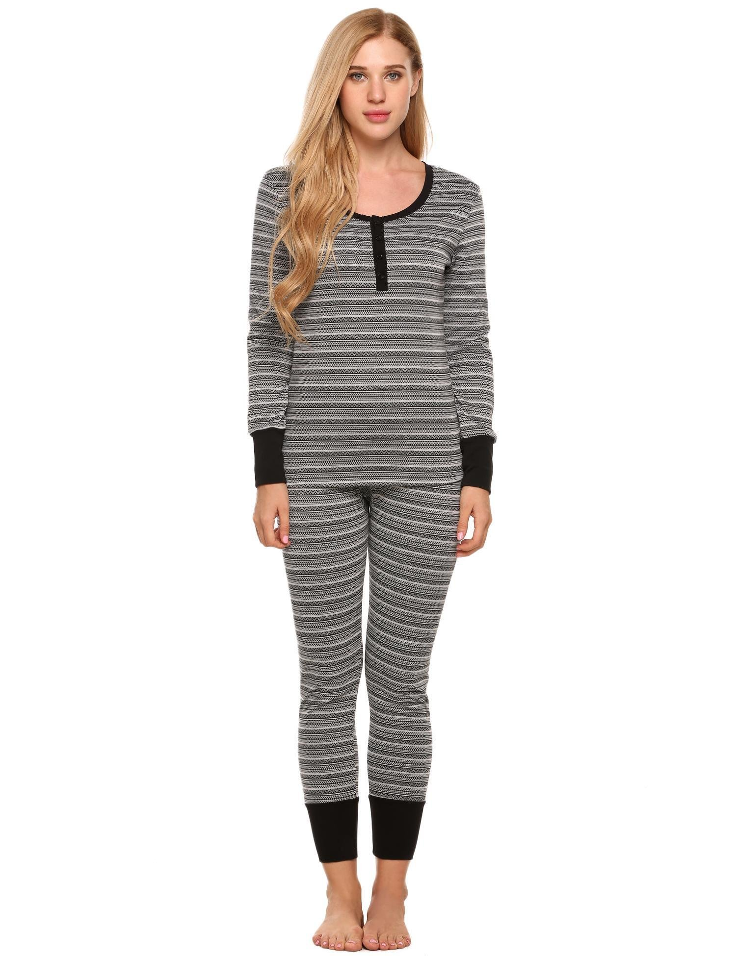 L'amore Women's Long Sleeve Thermal Pajamas Set Contrast Knitted Patterned Pjs(Black Pattern, XXL)