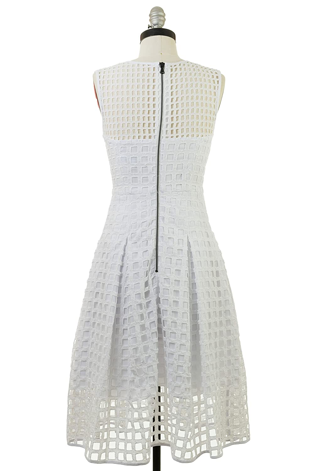 Milly Inverted Pleat Dress in White