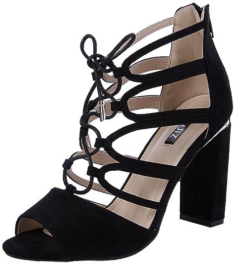 QuizFaux Suede Lace Up Block Heel Sandals - Zapatos de Punta Descubierta Mujer, Color Negro (Black), 39 EU