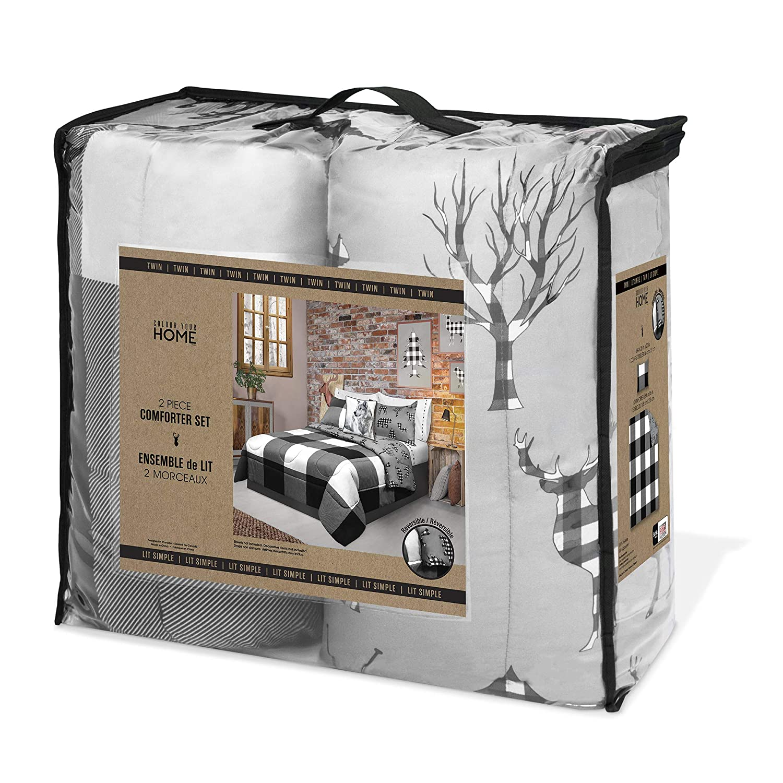 Safdie /& Co Luxury Set Comforter Twin White//Black 2