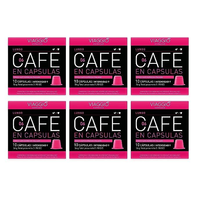 VIAGGIO ESPRESSO - 60 Cápsulas de Café Compatibles con Máquinas Nespresso. (LUNGO)