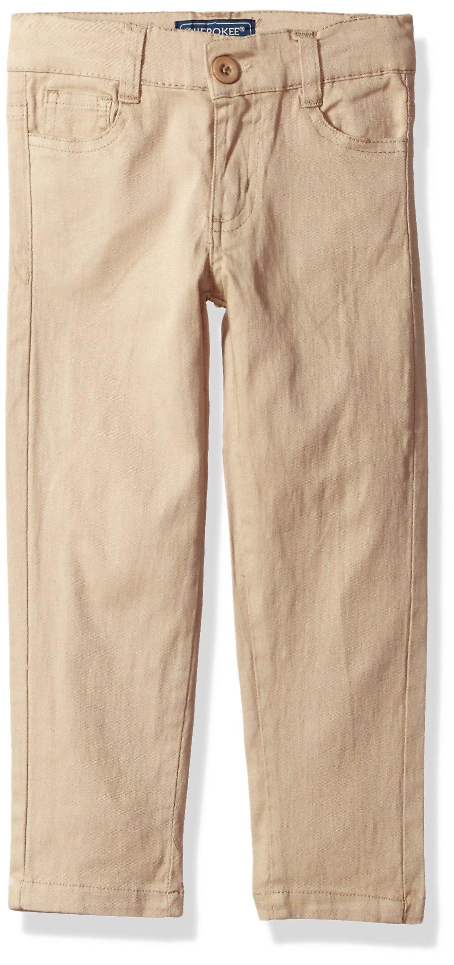 Cherokee Big Girls' Uniform Stretch Twill Skinny Pant, Khaki 5 Pocket, 7