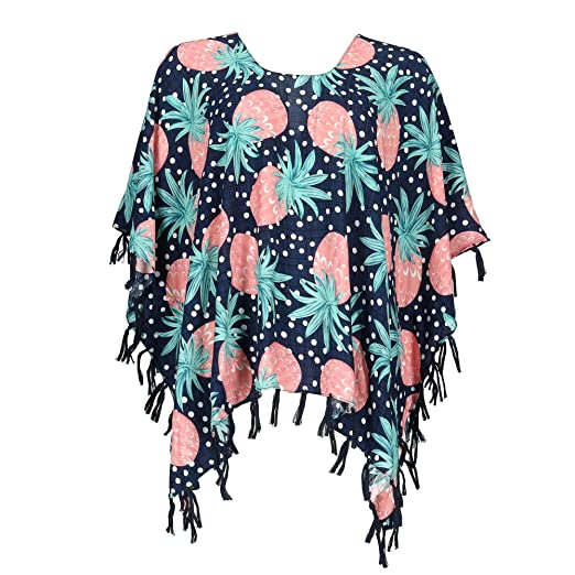 328fde270ff CTM Women s Pineapple Print Poncho with Tassels
