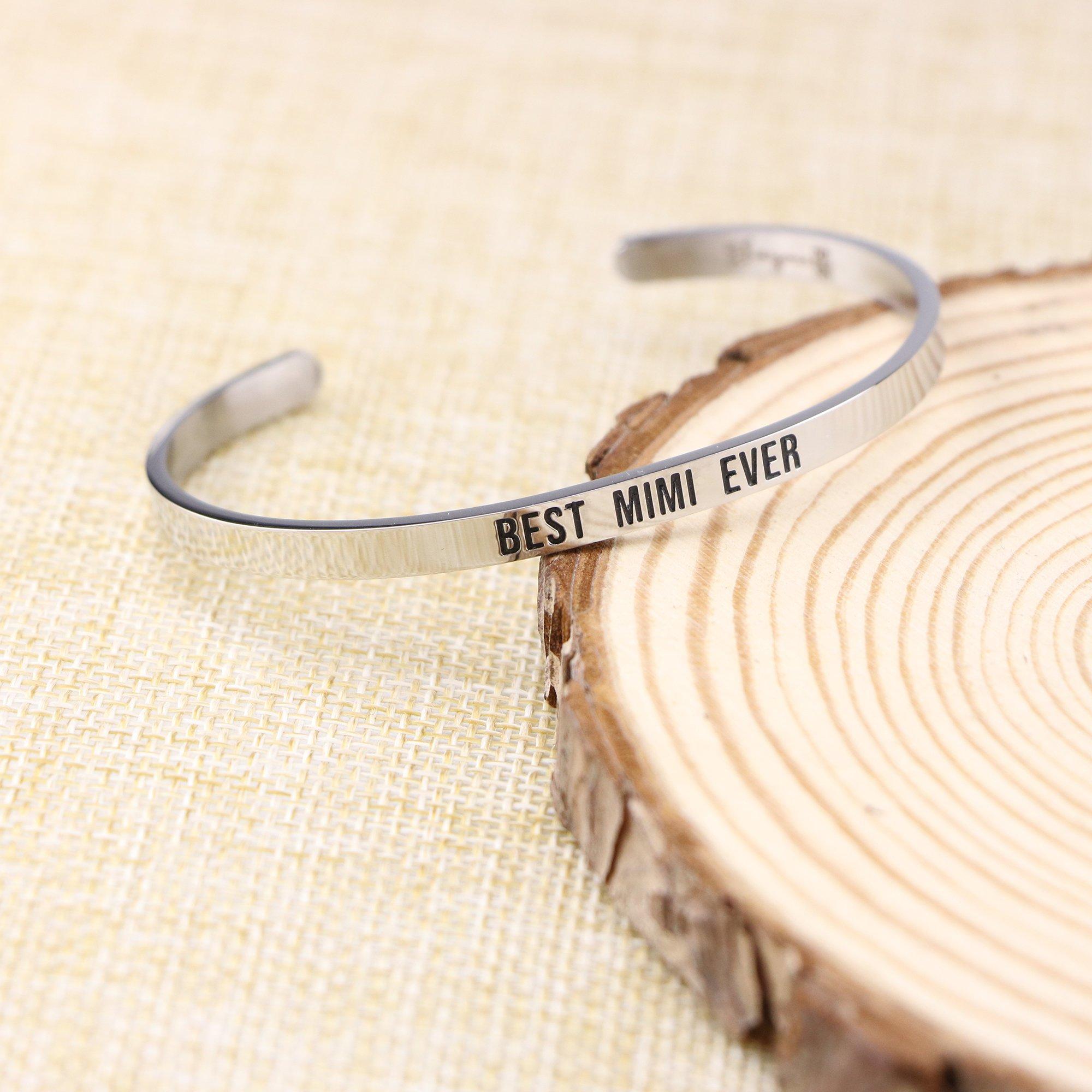 Joycuff Best Mimi Ever Bracelet Jewelry Gifts for Grandma Mantra Cuff Bracelets Bangle by Joycuff (Image #2)