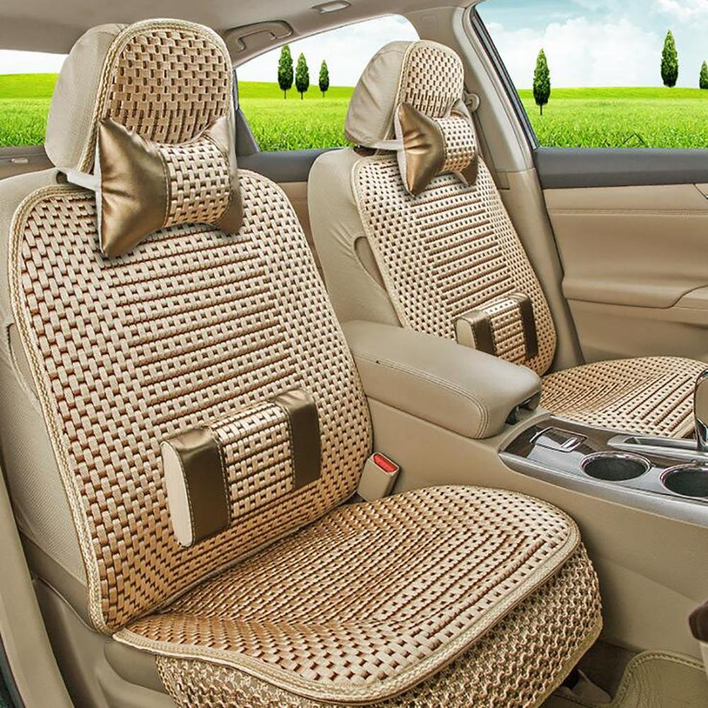MIAO Car Seat Cushions Cover, Linen Ice Wire Five Seats Car Universal Seat Covers With Fixed Lumbar Support To Help Reduce Tiredness , gold