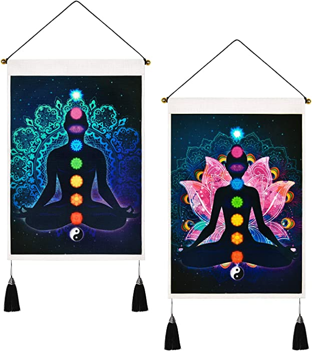 Pack of 2 Chakra Tapestry Trippy Yoga Meditation Tapestry Psychedelic Lotus Tapestries Hippie Tapestry Wall Hanging for Room (13.8 x 19.7 inches)