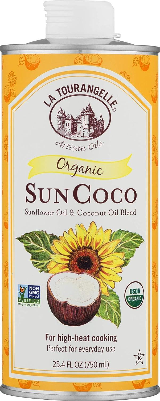 La Tourangelle Organic Sun Coco Oil 25.4 Fl. Oz., Neutral Flavor & High Smoke Point, Blend of Organic Sunflower Oil and Organic Coconut Oil