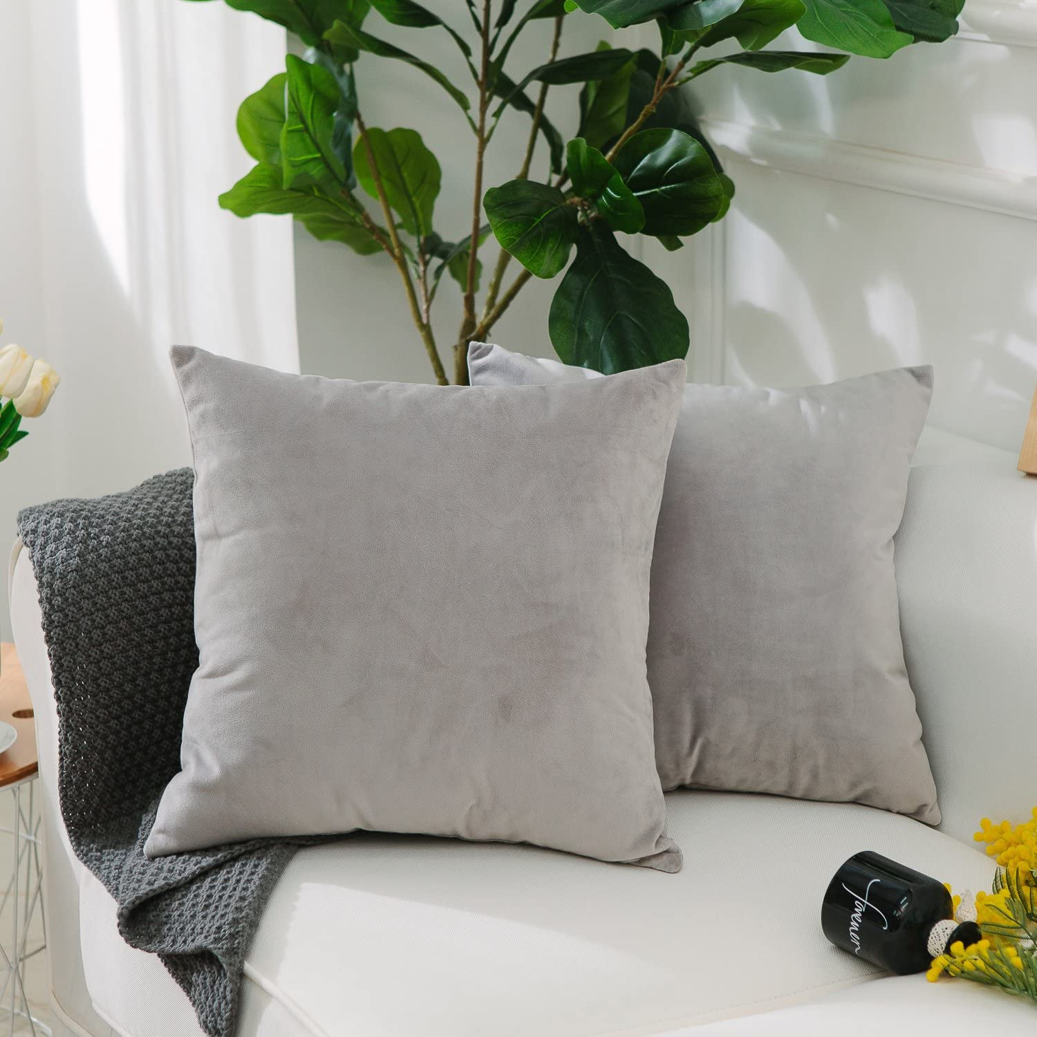 Home Brilliant Set of 2 Solid Square Ultra Soft Short Plush Velvet Accent Throw Pillow Sham Cushion Cover for Office Car Travel, 18 Inch(45cm), Light Grey