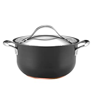 Anolon Nouvelle Copper Nonstick Covered Casserole, 4-Quart, Dark Gray