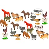 100 Piece Party Pack Mini Farm Animals - Plastic Mini Educational Animal Toys - Fun Gift Party Giveaway