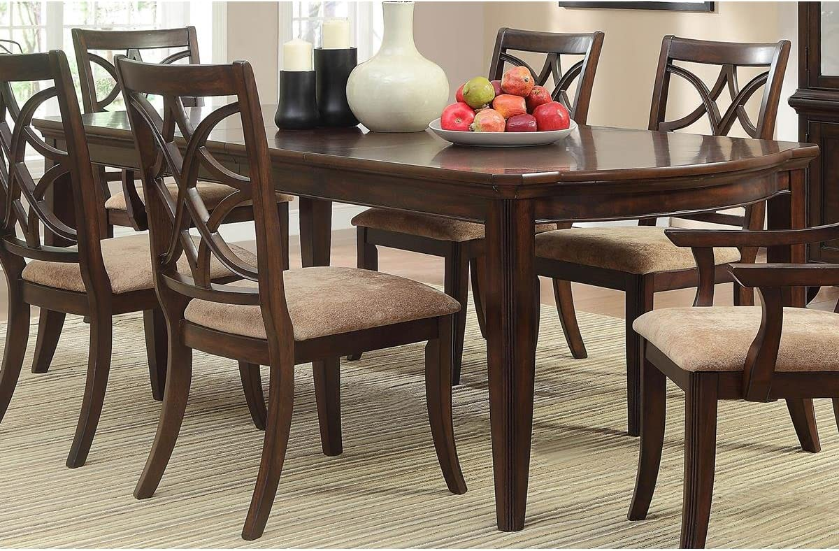 Amazon Com Hefx Kara Formal 68 82 96 Inch Dining Table In Cherrywith 1 Leaf Tables