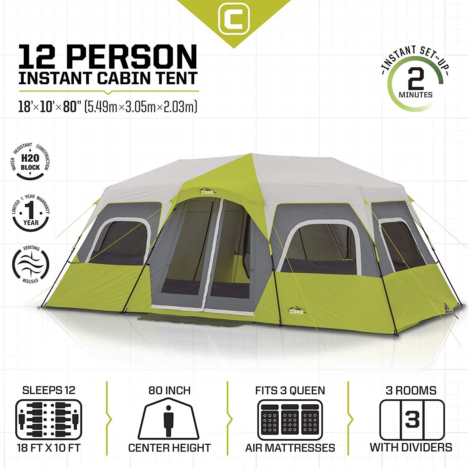 CORE 12 Person Instant Cabin Tent - 18' x 10' - 12 person cabin tent
