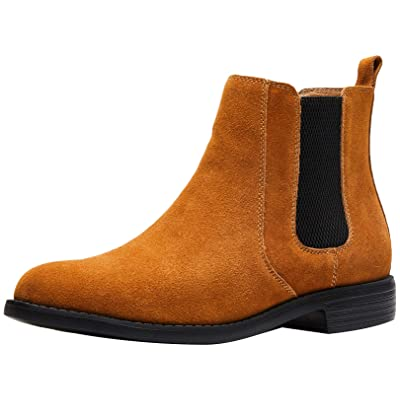 Men's Leather Chelsea Boots Comfortable Classic Fashion Dress Casual Shoes Pull Up Ankle Boots Size 6.5-10 | Chelsea