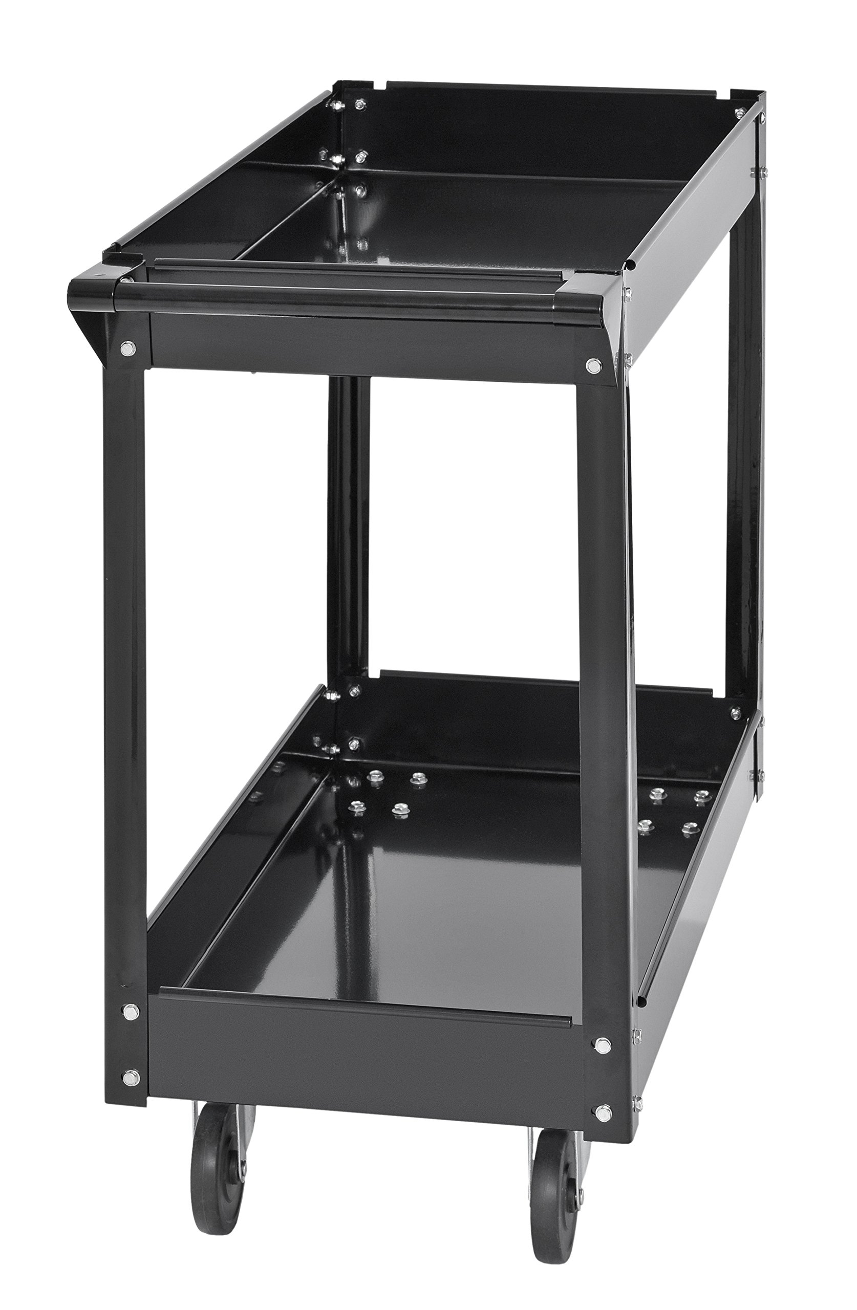 Muscle Rack SC3016 Industrial Black Commercial Service Cart, Steel, 220Lbs Capacity, 33'' Width x 30.5'' Height x 16'' Depth, 2 Shelves, 30.5'' Height, 33'' Width, 16'' Length by Muscle Rack (Image #6)