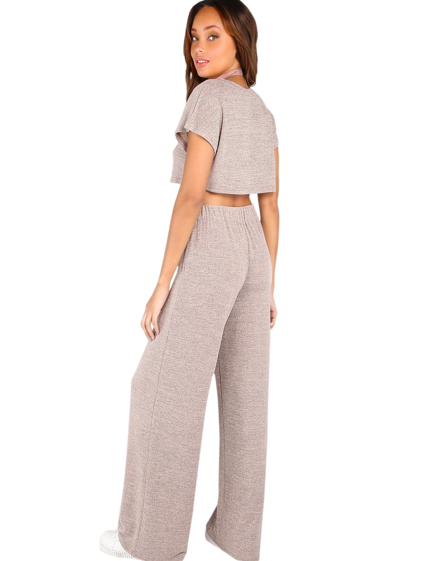 Verdusa Women's Sporty 2 Pieces Sets Loose Crop Top and Wide Leg Pants Blush L by Verdusa (Image #2)