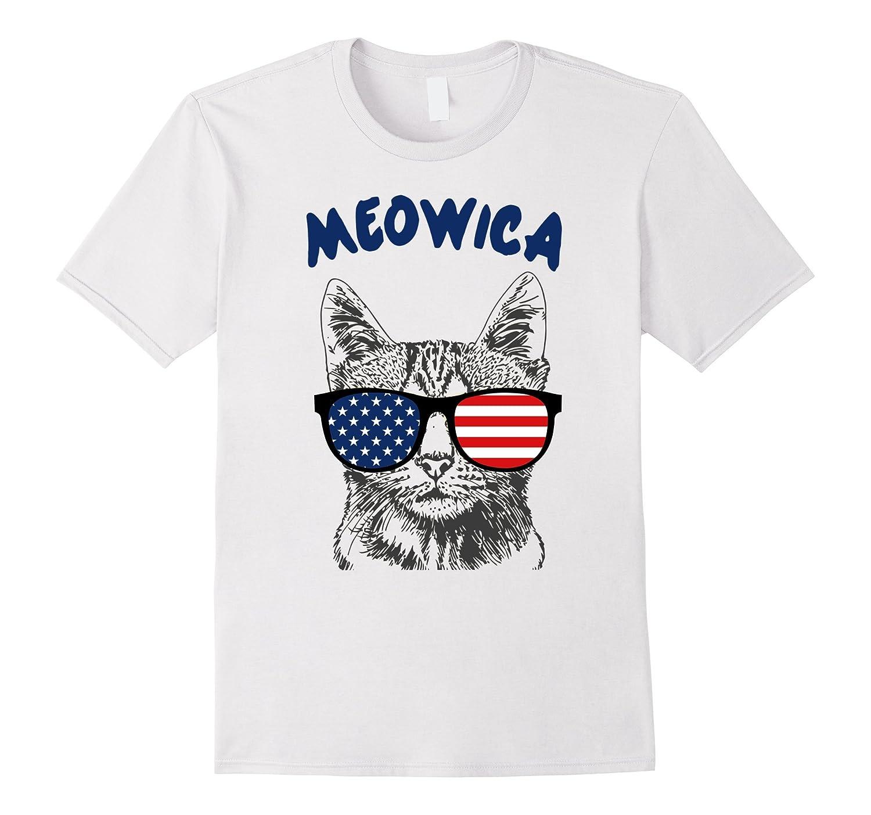5b4f6d8f Meowica Funny Patriotic Cat Sunglasses T-Shirt 4th of July-PL ...