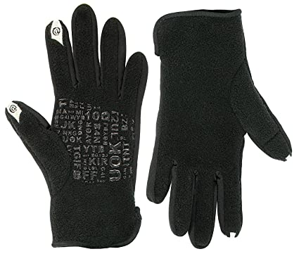 47c55a9d891 Bloomingdale's Women's Black Texting Acronyms Fleece Touch Gloves ...