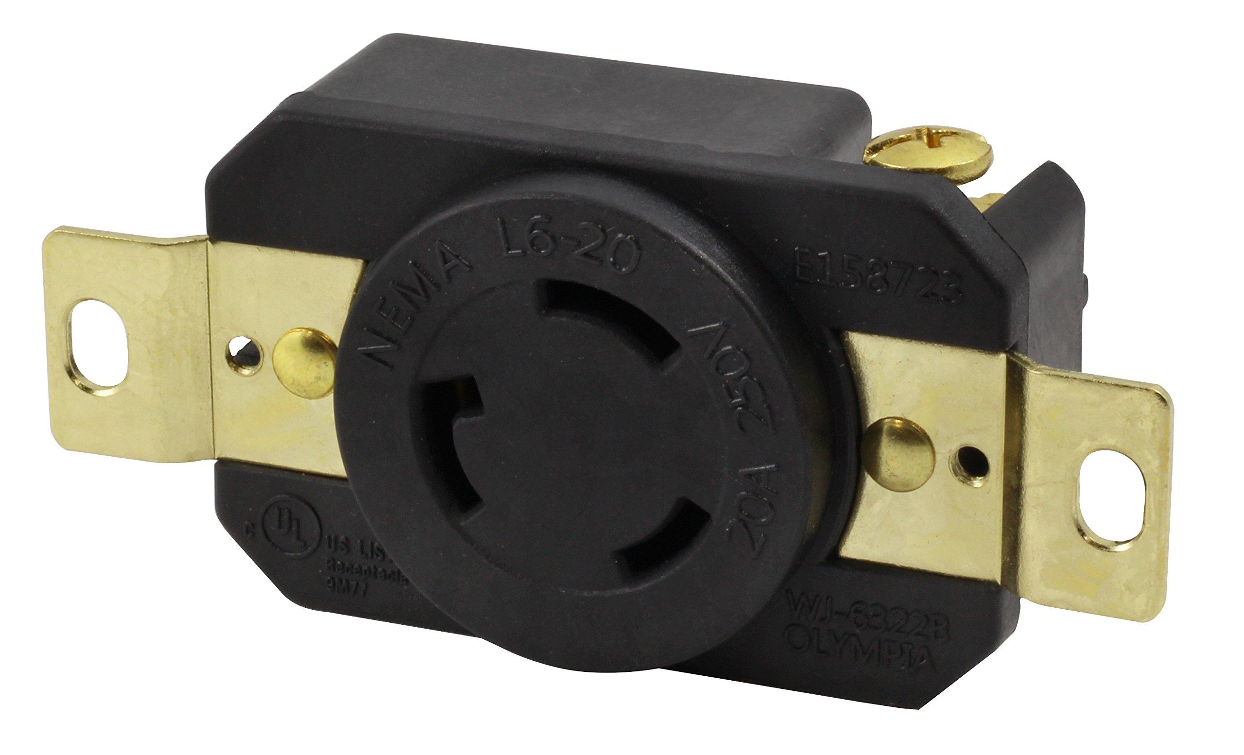 AC WORKS [FML620R] 20-Amp, 250-Volt, NEMA L6-20R Flush Mounting Locking Industrial Grade Receptacle