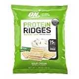 Optimum Nutrition High Protein Ridges, Baked Chips, Savory Snack to Go, Gluten Free, Soy Free, Flavor: Sour Cream, 10 Count