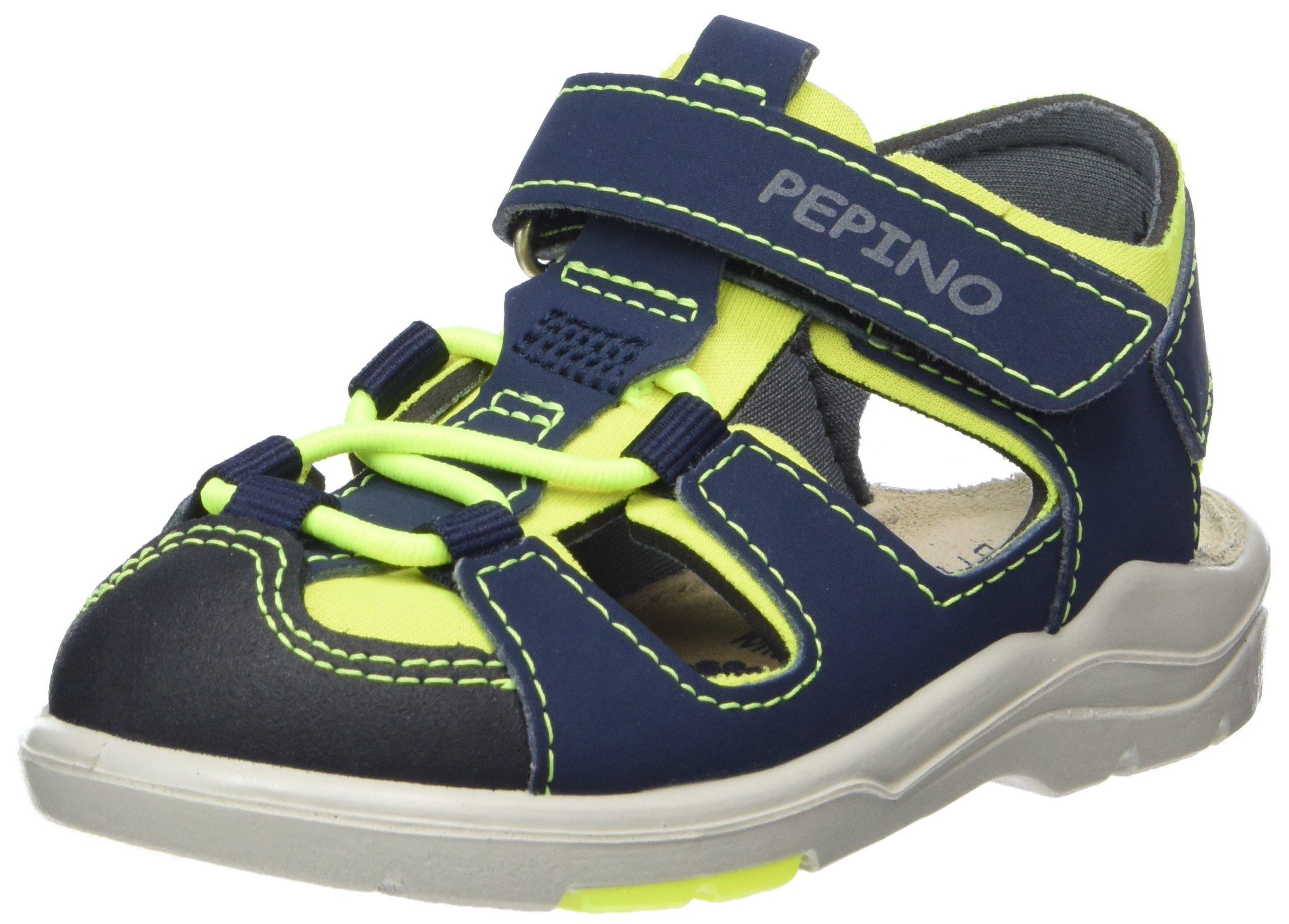 Ricosta Boys' Gery Sandals, Blau (Jeans/Neongelb), 7.5 UK
