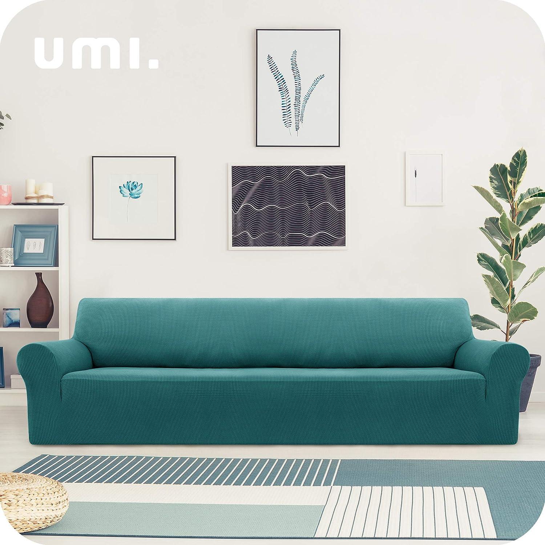 UMI by  Funda Sofa Suave Elastica de Color Liso 1 Plaza Chocolate