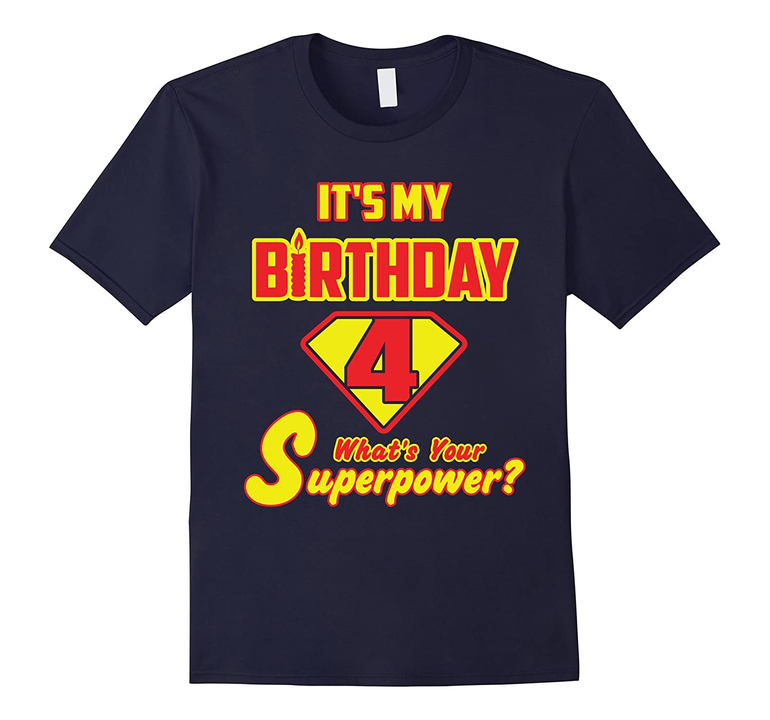 2 Sided Superhero Its My Birthday Shirt Gift for 4 Year Old-TH