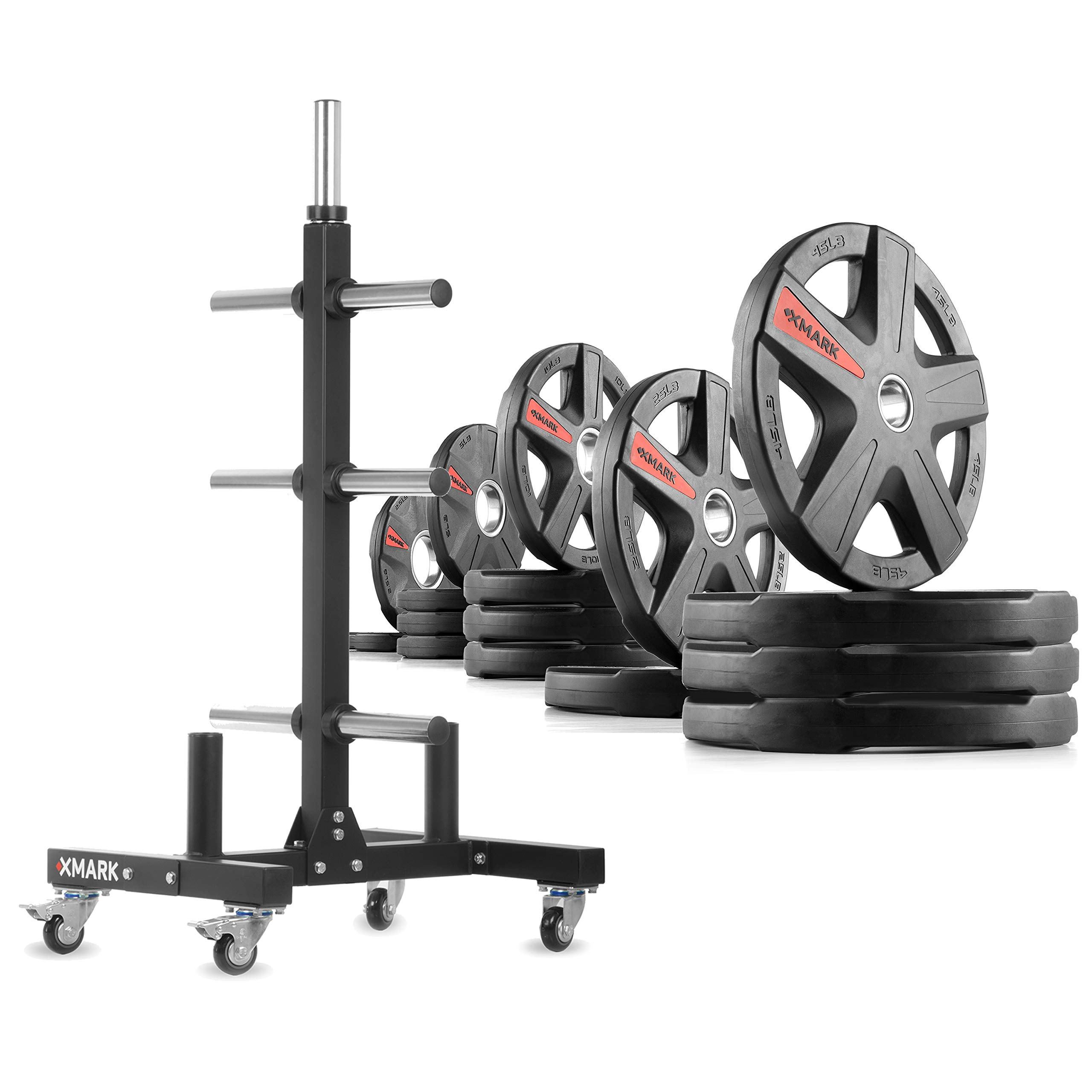 XMark XM-9055 Commerical Olympic Weight Tree Plus a 295 lb Set of Texas Star Olympic Plates by XMark