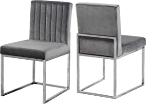 "Meridian Furniture Giselle Collection Modern | Contemporary Grey Velvet Upholstered Dining Chair with Polished Chrome Metal Legs, Set of 2, 18"" W x 22"" D x 32"" H,"