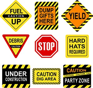 Construction Themed Party Decorations, 10-11.8 Inch Laminated Caution Traffic Signs, Construction Theme Party Signs, Paper Cutouts with 40 Glue Point Dots (9 Pieces Construction Signs)