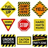 Construction Themed Party Decorations, 10-11.8 Inch Laminated Caution Traffic Signs, Construction Theme Party Signs, Paper Cu