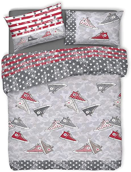 Giuliana Single Duvet Cover Set 1p Style Shoes All Star Modern 4 Colours Grey Amazon Co Uk Kitchen Home