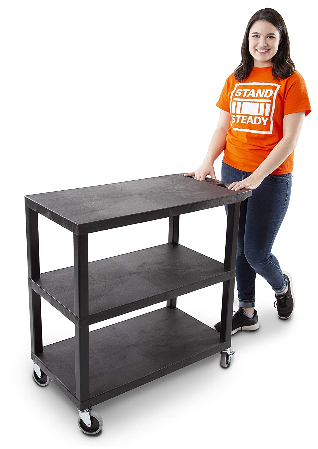 Original Tubstr - Flat Top Utility Cart - Heavy Duty, Supports up to 400 lbs - Flat Shelf Multipurpose Cart Perfect for Home, Garage, Catering, Warehouse and More (3 Shelf / 35 x 18)