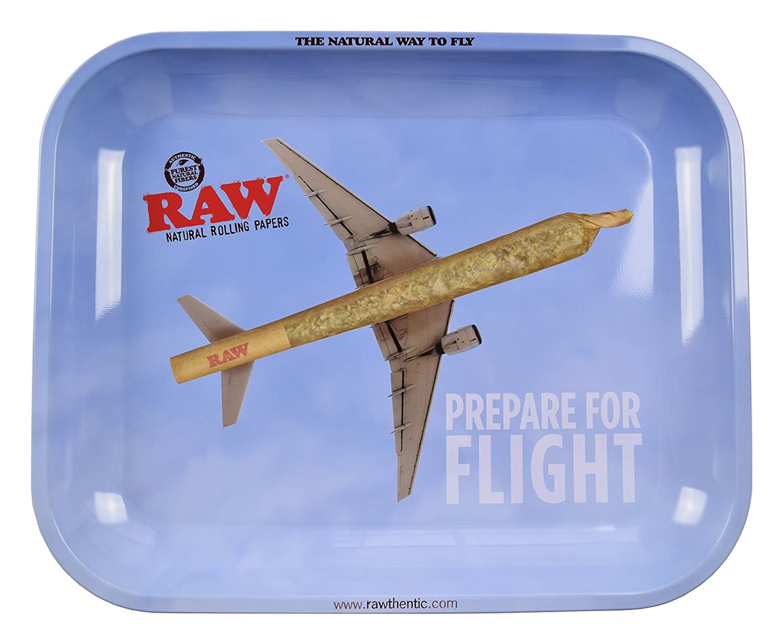 Raw 'Flying High' Metall-Tablett zum Drehen von Zigaretten, groß , 28 x 34 cm, mit Zertifikat