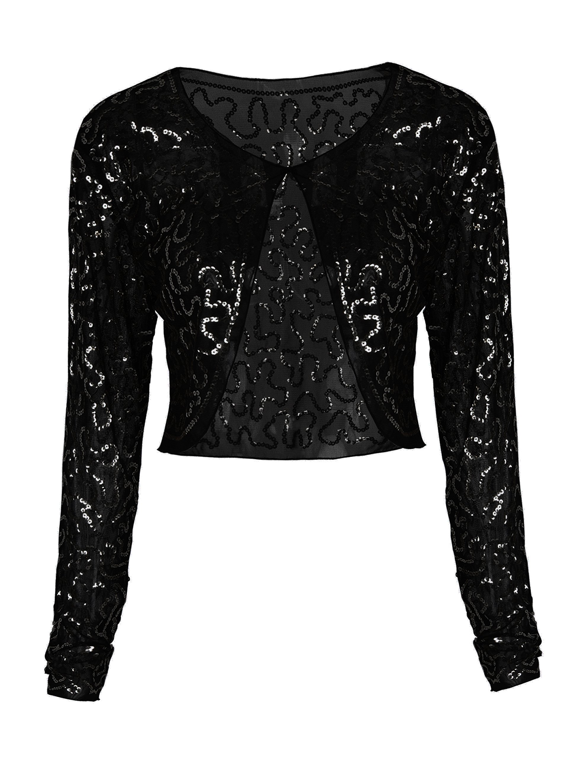 PrettyGuide Women Sequin Bolero Long Sleeve Sparkly Mesh Shrug Sequin Tops Black XL/US14-16