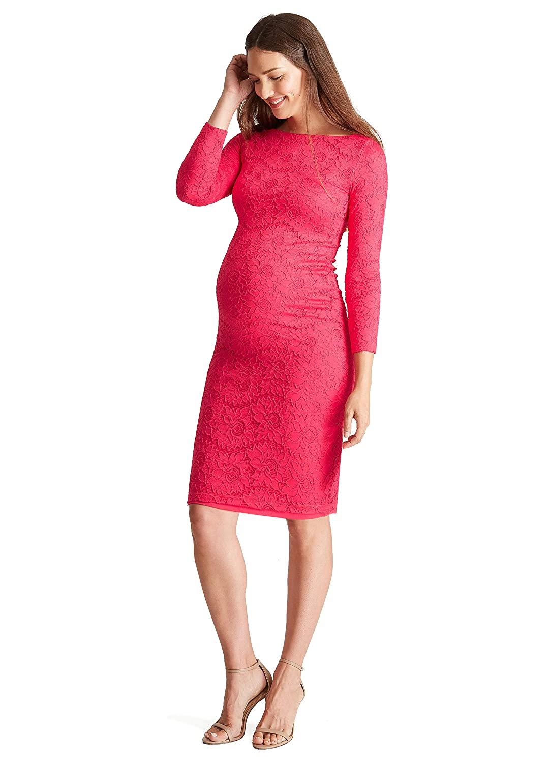 081d058df57 Ingrid   Isabel Women s Maternity Boatneck Lace Dress at Amazon Women s  Clothing store
