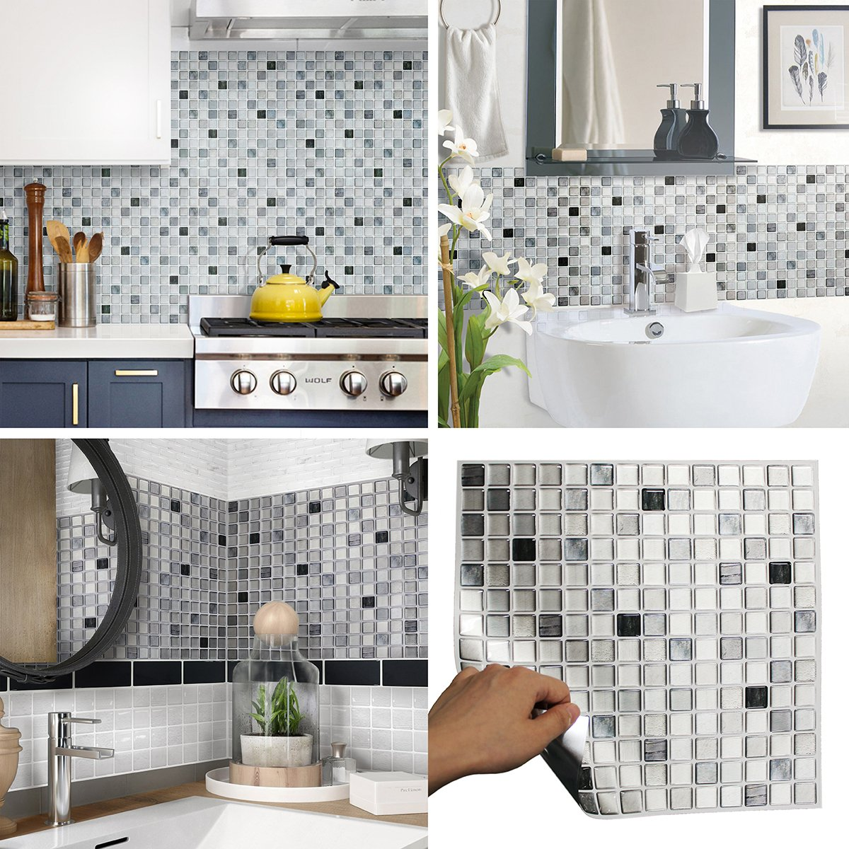 BEAUSTILE Decorative Tile Stickers Peel Stick Backsplash Fire Retardant Tile Sheet (Monocrome) (10, 12.2'' x 12.2'')