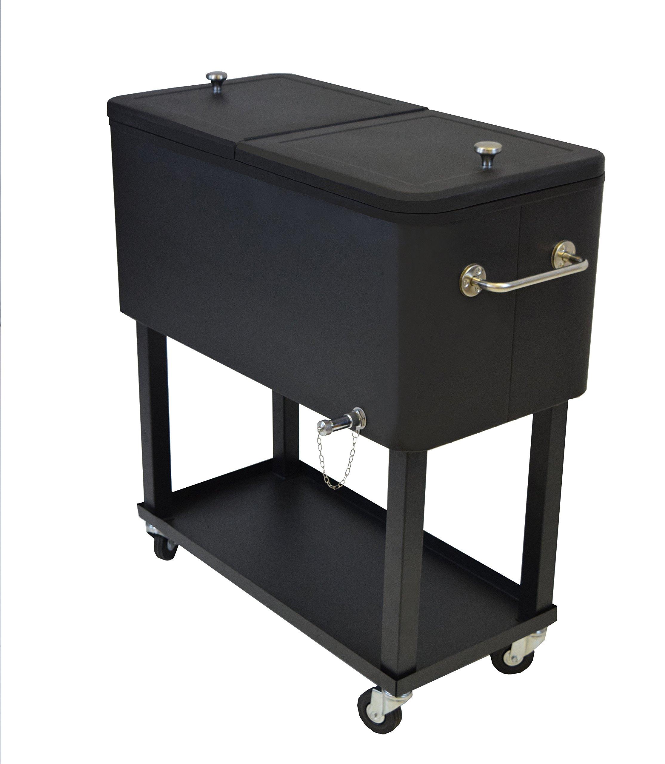 Oakland Living 90010-BK Steel Patio Cooler with Cart, 80-Quart