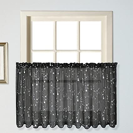 United Curtain Savannah Kitchen Tiers, 51 By 24 Inch, Black, Set Of