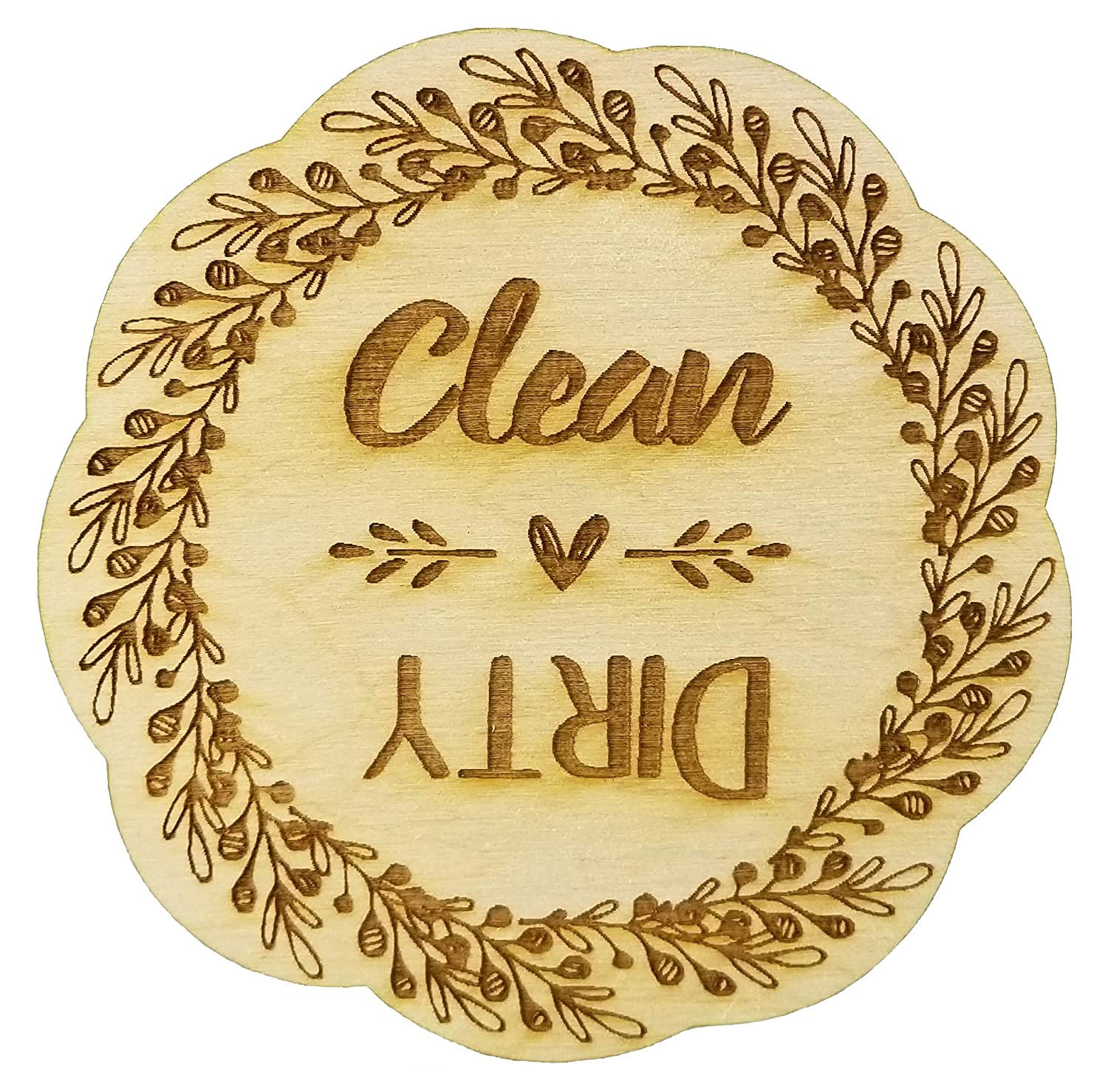 Rustic Wreath Wood Dishwasher Magnet | Clean Dirty 3 Inch Round Magnet | Boho Stylish Shabby Chic Design | Kitchen Magnet for Home Decor, Gift for Men & Women, or Party Favors